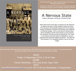 Duke University Press, Clarke's Bookshop and the Centre for Humanities Research, UWC invite you to the launch of the new book by Nancy Rose Hunt (Professor of History & African Studies, University of Florida)